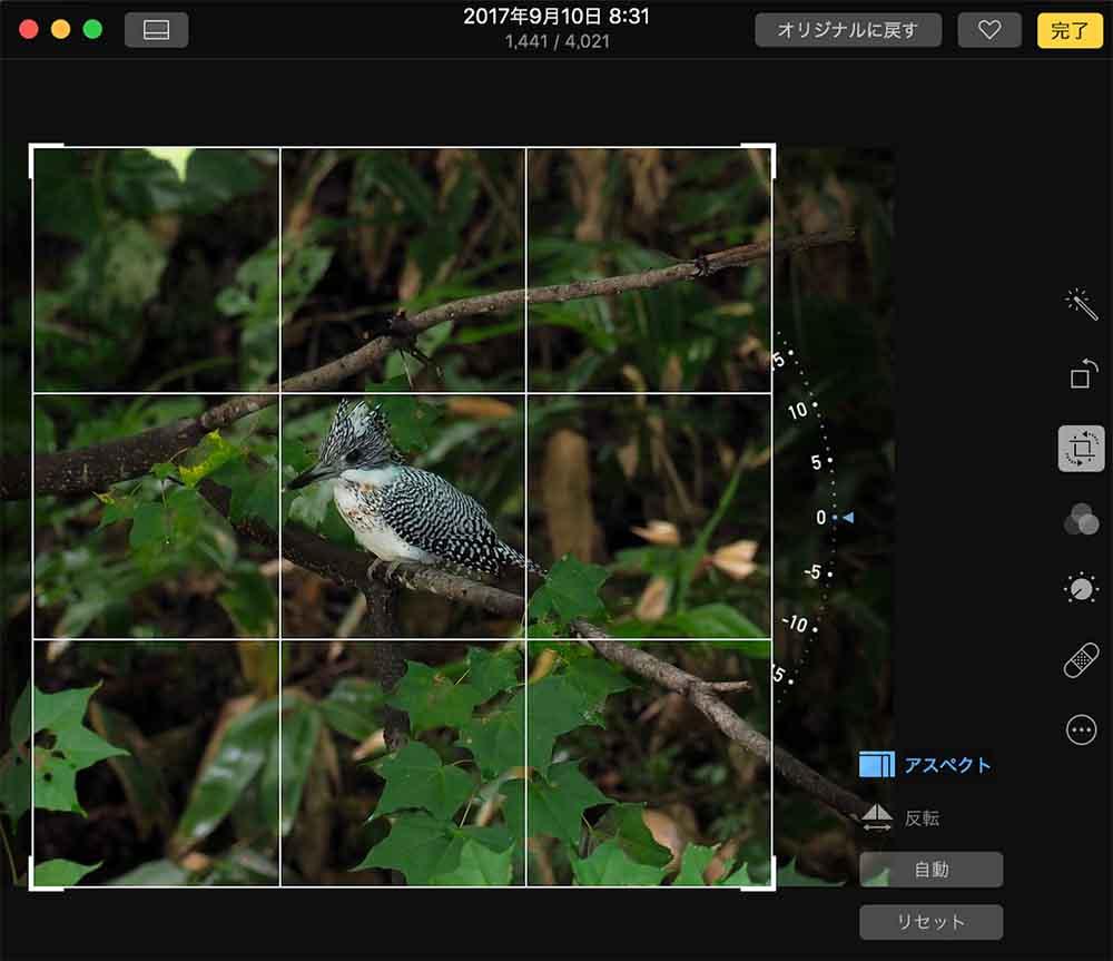 写真アプリでトリミング作業