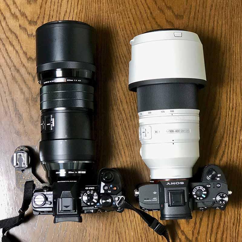 E-M1 野鳥撮影用のMarkIIとα7RIIIの大きさ比較
