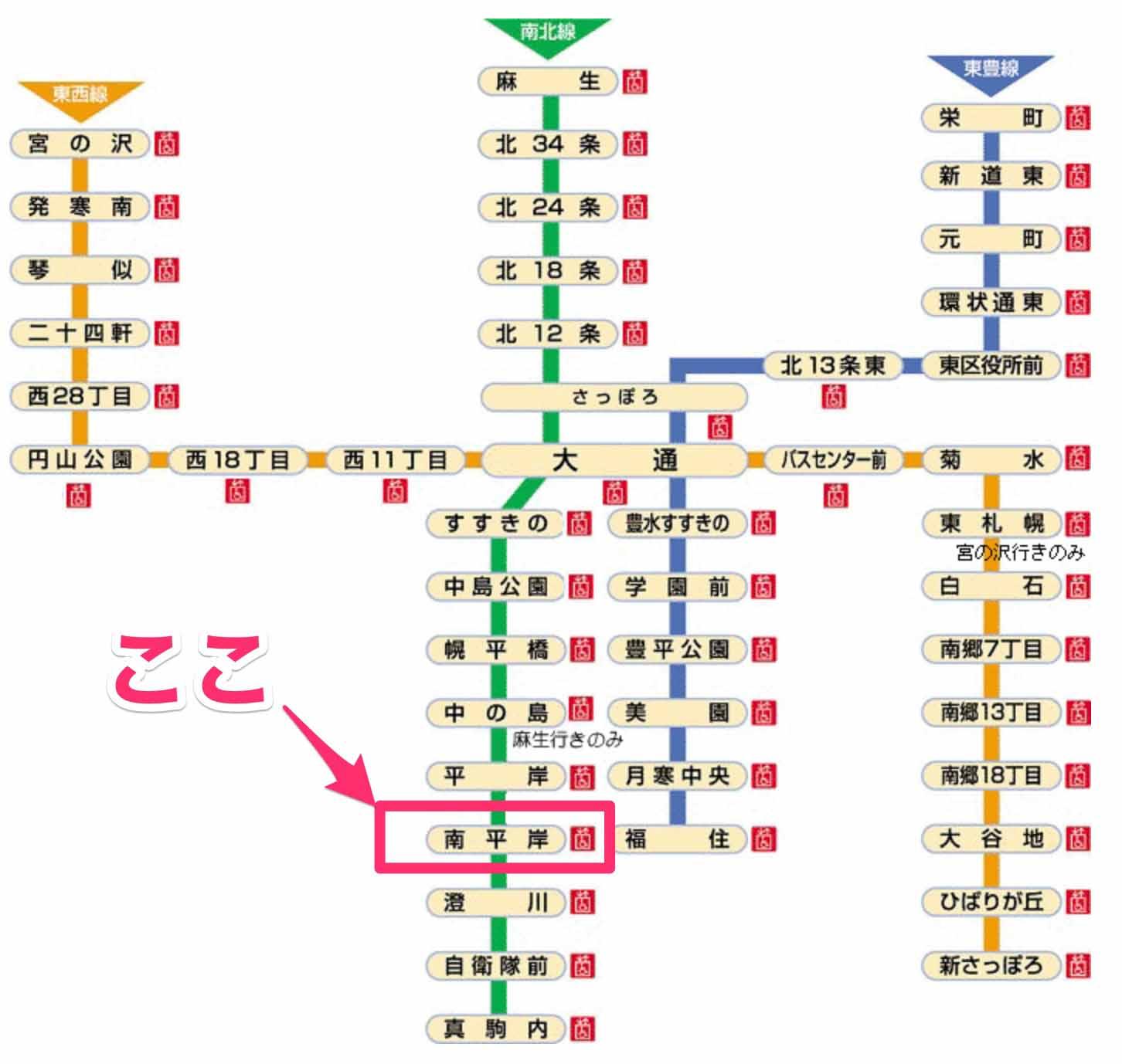 地下鉄路線図(出典:札幌市)